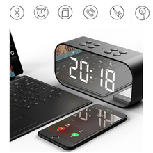 Portable Bluetooth Speaker Super Bass Wireless Stereo Speakers Support TF AUX Mirror Alarm Clock for Phone Computer цена и фото