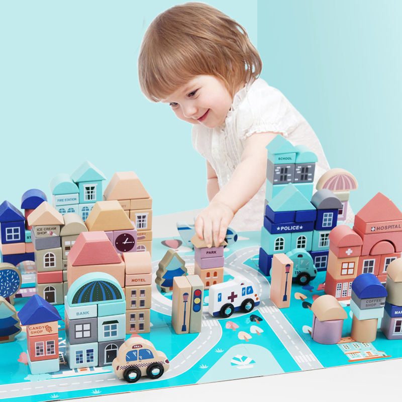 High Quality Wooden 133 Tablets City Barrel Building Blocks Toys Boys And Girls Early Education Shape Recognition