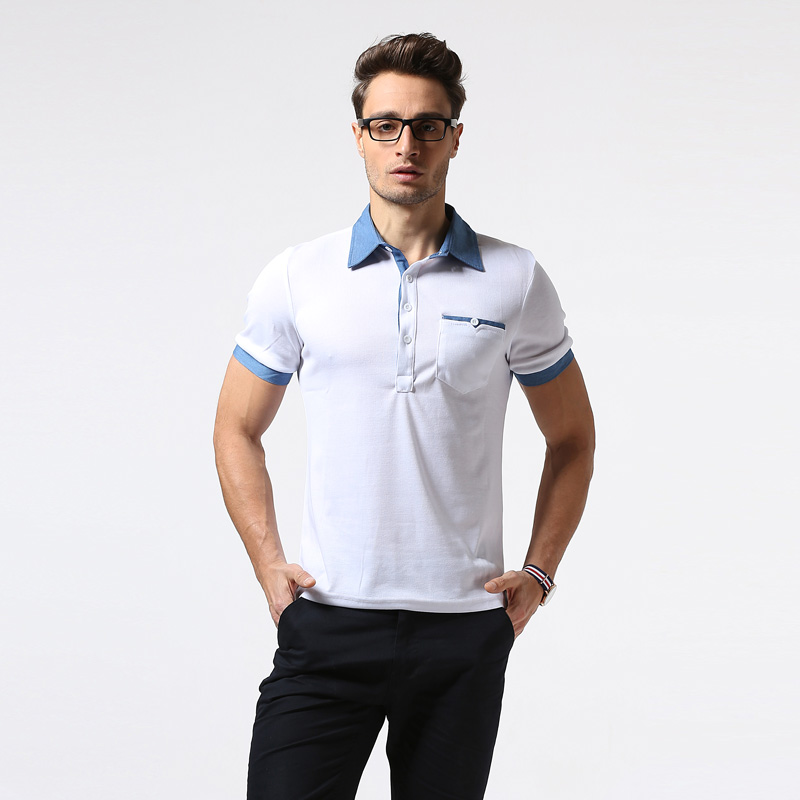 Cotton   Polo   Shirt Men 2017 Brand New Summer Short Sleeve Pocket   Polo   Shirt Homme Casual Slim Fit Breathable Camisa   Polo   White