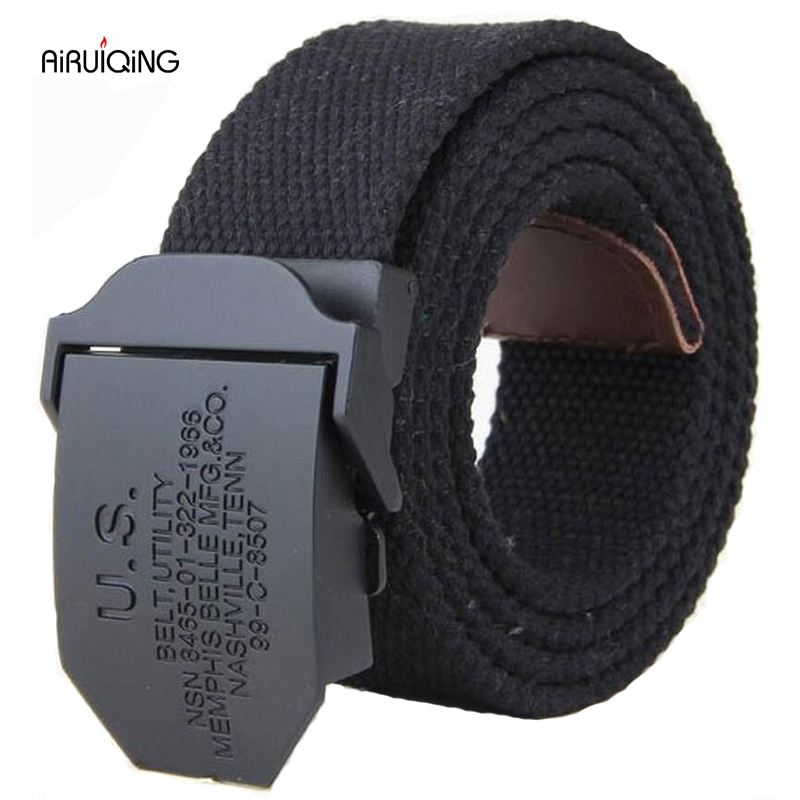 hot 2019 fashion mens canvas   belt   High quality luxury   belt   men brand outdoor sport Military jeans   belts   black army green 110 140