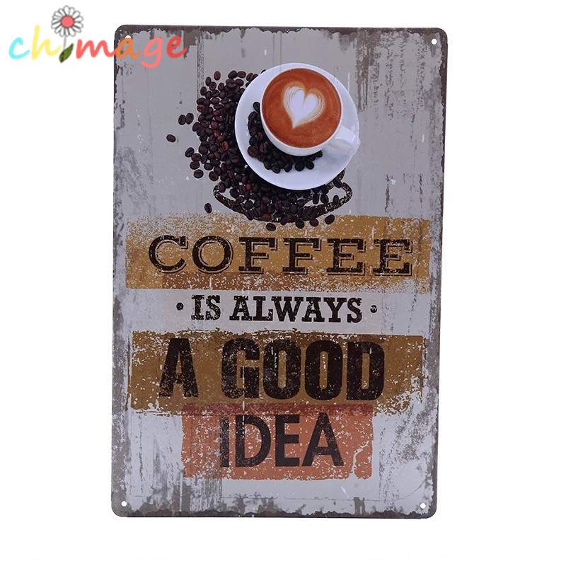 Tin Wall Decor Vintage : Coffee is always a good idea vintage tin sign bar pub home