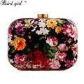 Saint Girl Fashion Flower Pattern Clutch Bag New Mini Circle Evening Bags For Party Exquisite Day Clutches Bolsa Feminina SNS271