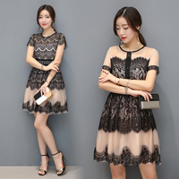 1686 2017 Summer New Korea Style Women Fashion Short Sleeved O Neck Sexy Hollow Out Lace