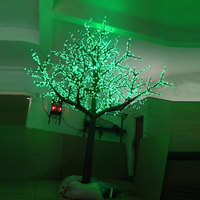 3.5Meter 3360leds Red Green Yellow 3Color changing artificial blue cherry blossom tree light for Christmas outdoor decoration