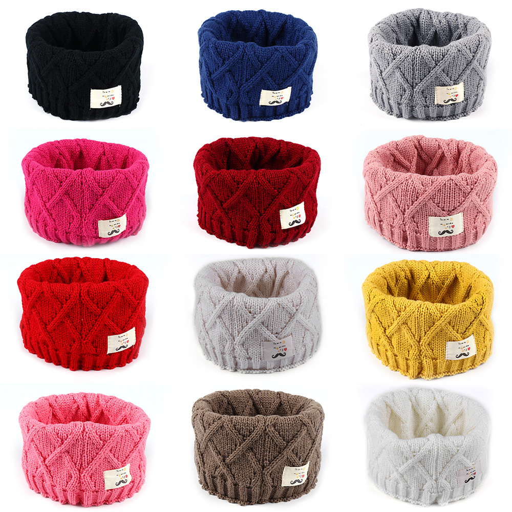 1PC Fashion Child Kids Girls Boy Scarf Wrap Warm Winter O-ring Knitted Baby Solid Color Scarf Neck Warmer For 3-8 Years Old Kids