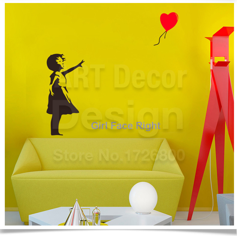Banksy Vinyl Wall Sticker Home Decor Girl with Heart Balloon Street ...