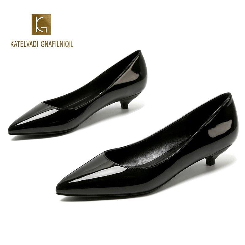 c8ef0d7d5a568 Ladies Shoes Black Pumps Patent Leather 3CM Low Heel Shoe Nude Office Shoes  Elegant Women Wedding
