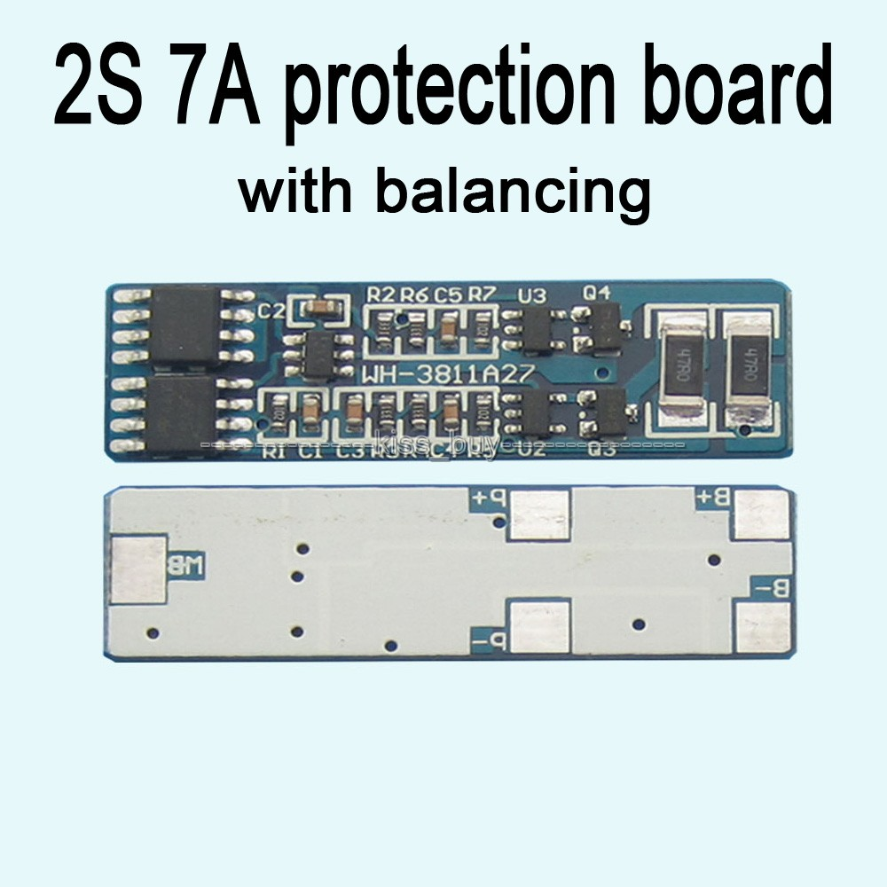 2S cell 7A li-ion BMS PCM 18650 lithium battery protection board bms pcm with Balance battery charge discharge; new arrival 50x21x1mm 10a bms charger protection board for pack of 3 18650 li ion lithium battery cell wholesale price board