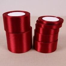 25 ярдов/рулон) вино односторонняя атласная лента подарочная упаковка рождественские ленты 33