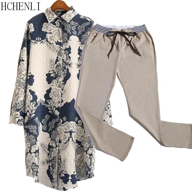 HCHENLI 2017 Women Fashion 2 Piece Clothing Sets Flower Print Long Shirt+Harem Khaki Linen Pants Drawstring Chinese Style Suits