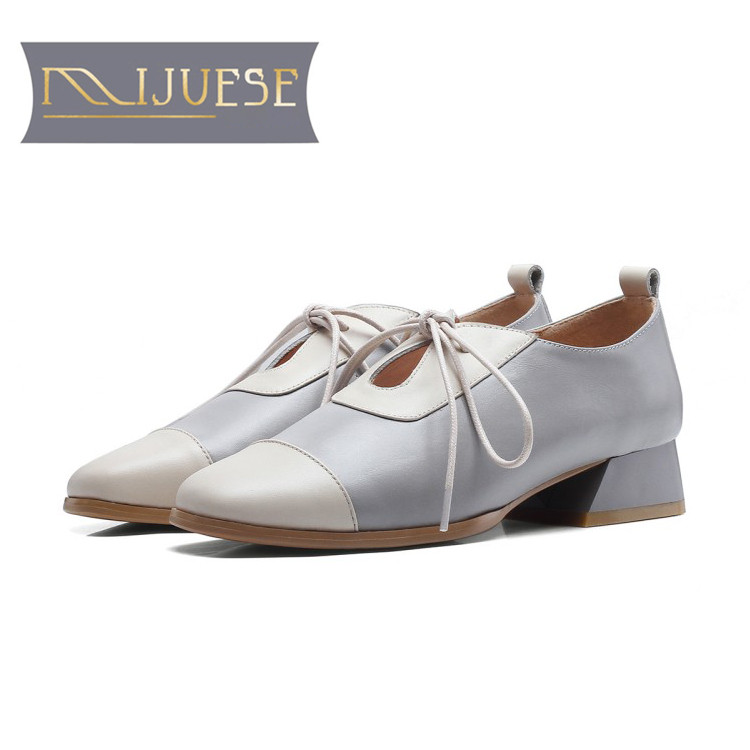 MLJUESE 2019 women pumps autumn spring soft cow leather square toe lace up mixed colors low