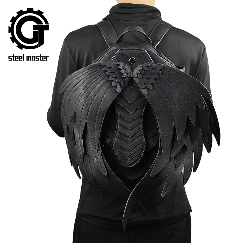 New Punk Wings Leather Backpack Gothic Women's Men's Black Retro Backpack Steampunk Fashion Travel Casual Backpack