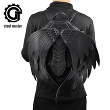 New Punk Wings Leather Backpack Gothic Womens Mens Black Retro Steampunk Fashion Travel Casual