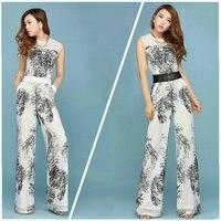 Женские комбинезоны для женщин Мода шифон женский широкие брюки длинные мотобрюки без рукавов Цветочный jumpsuite дам