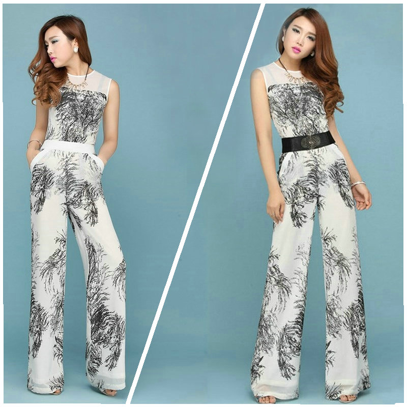 Women's jumpsuits Fashion Chiffon Female   Wide     Leg     Pants   Long Trousers Sleeveless Floral jumpsuite for ladies