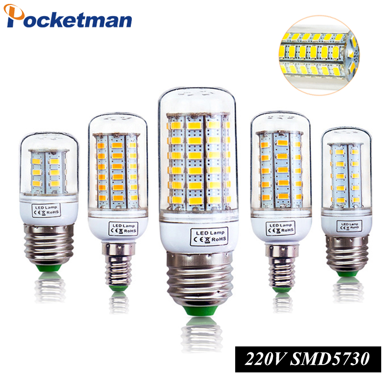 E27 LED Lamp E14 LED Light 220V LED Bulb 24 36 48 56 69LEDs Corn Light SMD 5736 Lampada No Flicker light for Home Decoration ...