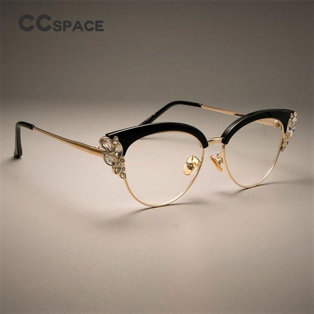 0407851231a CCSPACE GORGEOUS Ladies Cat Eye Shiny Rhinestones Glasses Frames For Women  Brand Designer Eyewear Optical EyeGlasses