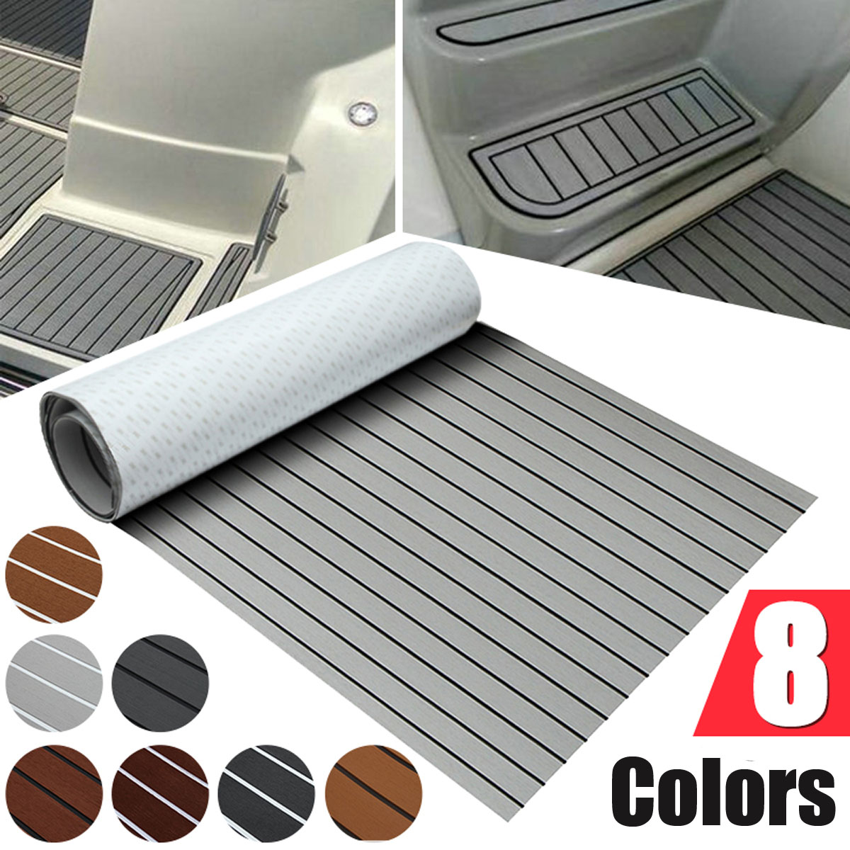 8 Styles Self-Adhesive 900x2000x5mm Foam Teak Decking EVA Foam Marine Flooring Faux Boat Decking Sheet Accessories Marine