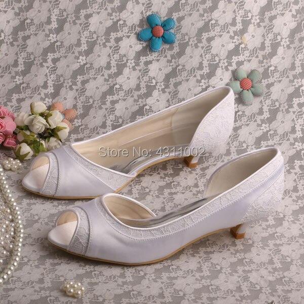 Talon Ivoire Dentelle De Le La Chaussures Mariée Wedopus Satin Et Bas Toe Mariage Ivory Peep white Pour 8wEC7x4q