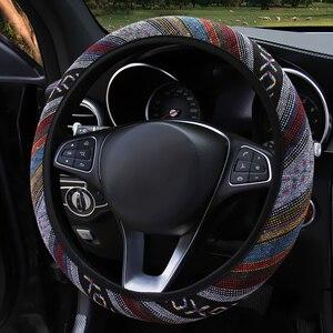 Image 4 - FORAUTO COM אלסטי רכב הגה כיסוי אתני סגנון רכב היגוי גלגל מכסה אוטומטי קישוט רכב אביזרי פשתן אוניברסלי