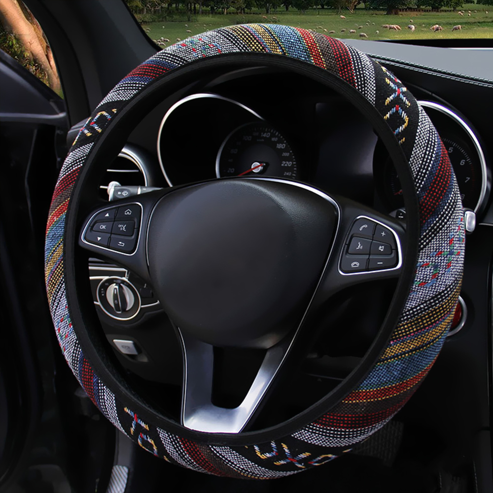 Image 4 - FORAUTO Elastic Car Steering Wheel Cover Ethnic Style Car Steering wheel Covers Auto Decoration Car Accessories Linen Universal-in Steering Covers from Automobiles & Motorcycles
