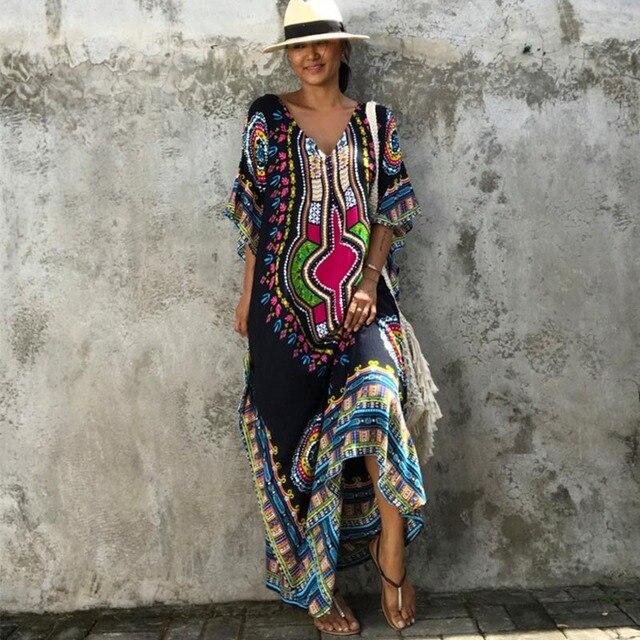 African Kaftan Black Tunic Dresses for Women s Dashiki Dress Summer Ethnic  Traditional African Clothing Long Maxi e0a5281d97d5