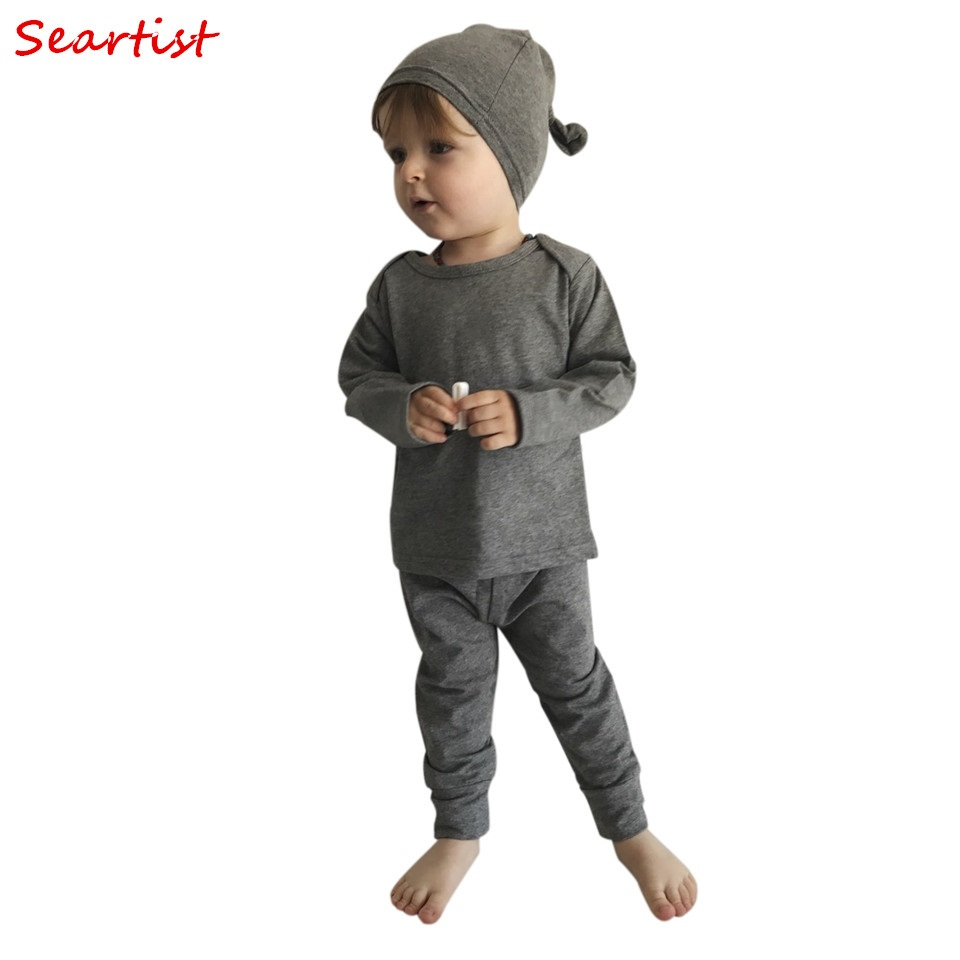 Seartist Newborn Clothing Sets Infant 3 Pcs Sets T Shirt +Pants+Hats Baby Boys Autumn Plain Color Gray Clothing Set 2017 New 30C