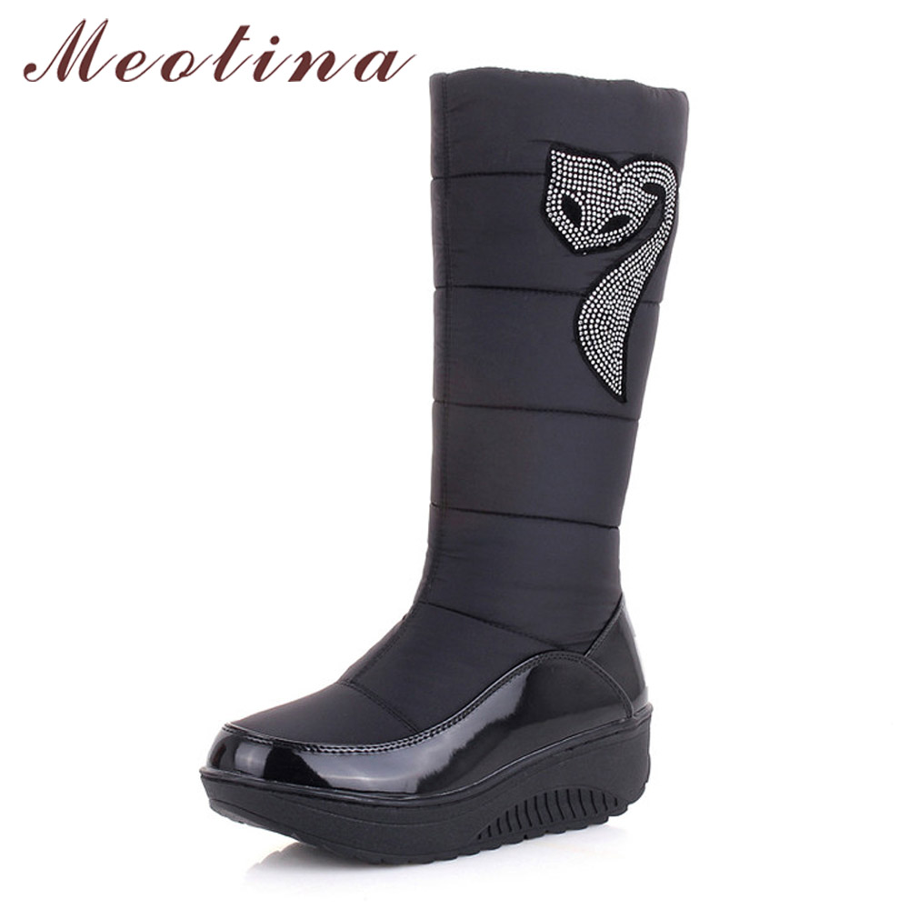 Meotina Winter Snow Boots Plush Warm Shoes Platform Wedge Heels Boots Fur Down Crystal Mid Calf Boots Black Brown Size 35-44