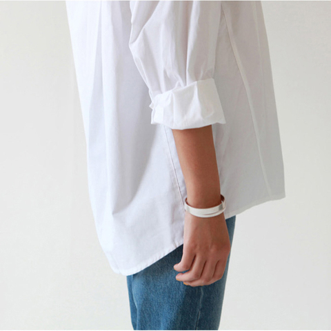 BGTEEVER Plus Size OL Style One Pocket Single Breasted Women White Shirts Turn-down Collar Autumn Blouses Casual Female Tops Multan