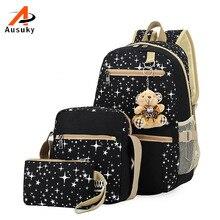 Рюкзак Новый Для женщин рюкзак Школьные сумки для подростков Обувь для девочек рюкзак Рюкзаки комплект Mochila печати Bookbag Симпатичные холсте 30