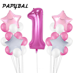 Image 2 - 25pc 베이비 샤워 1 생일 풍선 블루 핑크 호일 풍선 아기 첫 번째 생일 장식 1 년 생일 아이 파티 장식
