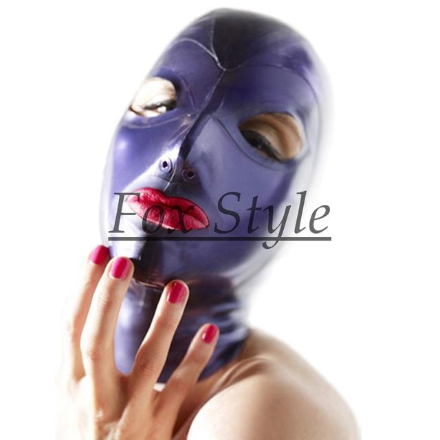 Envío libre 100% hecho a mano pegado capucha de látex de color púrpura