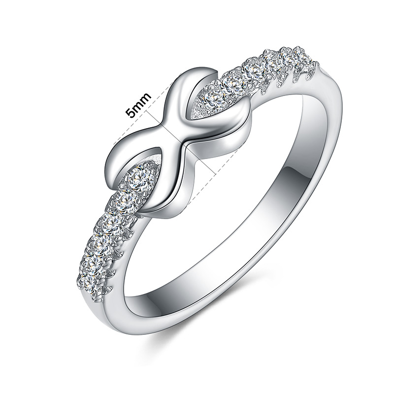 NEWBARK Band X Style Design Rings For Women White Gold Color Shiny Cubic Zirconia Beautiful Engagement Lovers Ring Gift