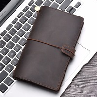 Genuine Leather Notebook Portable Size 175x110mm Handmade Diary Journal Notebook Sketchbook Planner Vintage Style