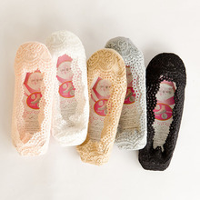 one pair summer fashionable women short socks slippers lace hollow out decoration beige black invisible girl