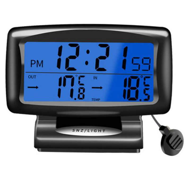 Car Led Thermometer Time Electronic Clock Watch Car Night Light Clock Temperature Display Car Interior Products Luminous Auto