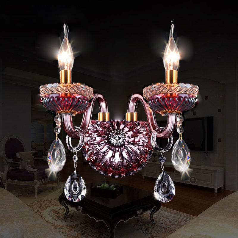 Modern Wall Lamp Sconce Lighting Red wine wall lights front lamp bedside lamp crystal sconce lights home lighting living room
