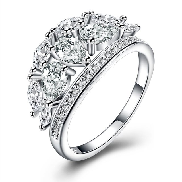Refined Jewelry Flat Ring S925 Silver Delicate Wedding Band With Zircon Decor Gift For Women