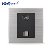2017 Hot Sale TV and COM Socket Wallpad Luxury Television and Computer Wall Power Socket Network Black / Champagne AC 110-250V