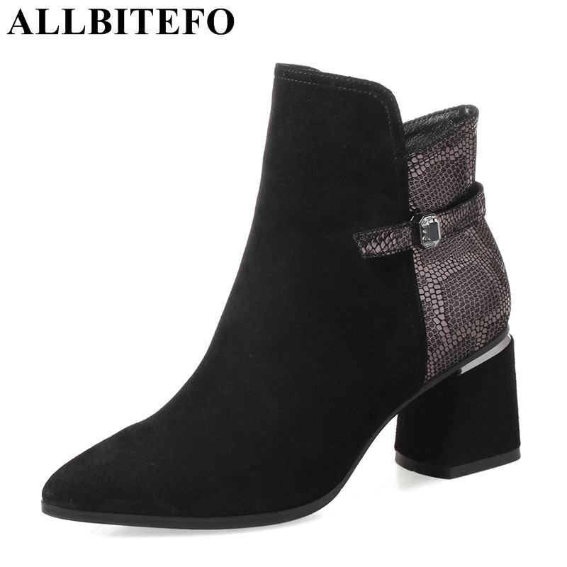 ALLBITEFO genuine leather thick heel women boots fashion brand high heels ankle boots mixed colors winter girls motorcycle bootsALLBITEFO genuine leather thick heel women boots fashion brand high heels ankle boots mixed colors winter girls motorcycle boots
