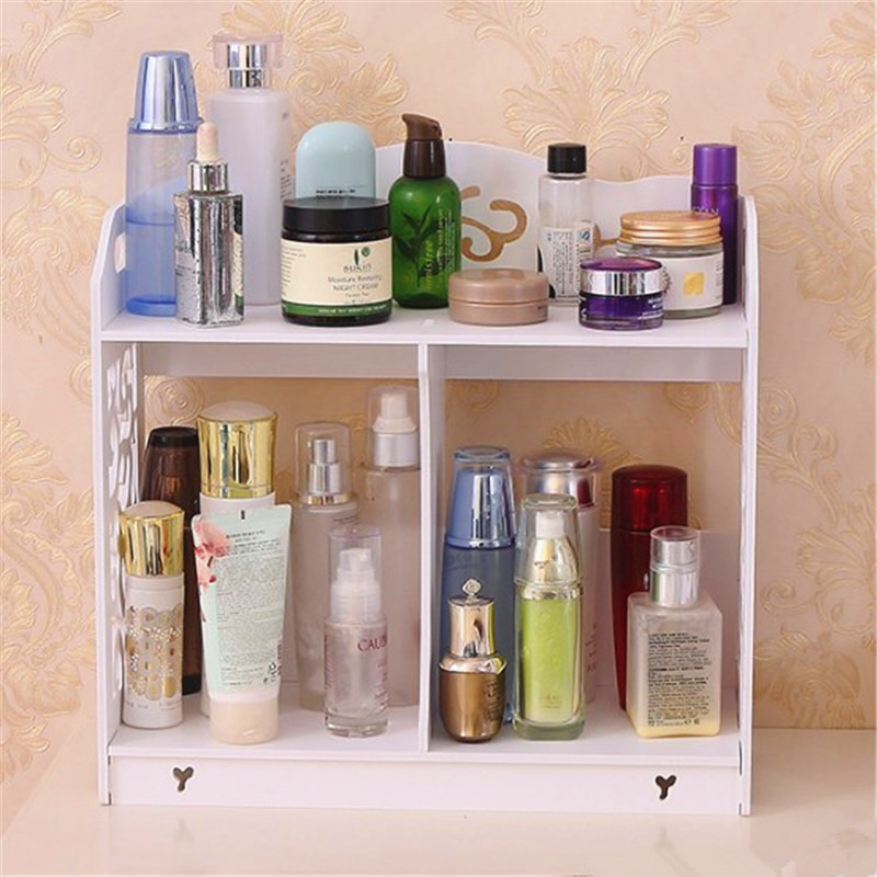 36cm Wood Shelf Women Makeup Hollow Flower 2 Layer Storage Holder Decorative Shelve Wedding Table Home Decoration AP201