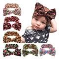 Newborn Floral Big Hair Bows for Children Hair Accessories Baby Cotton Turban Headband Infant Headwraps HYS114