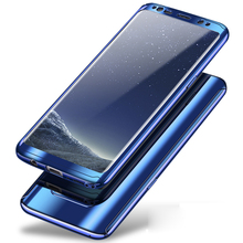 360 Degree Shockproof Cases For Samsung Galaxy S8 Plus S8+ Phone Case For Samsung S8 S 8 Plating Mirror Full Cover + Glass film