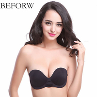 BEFORW Sexy Inflatable Cushion Underwear Woman Without Steel Strapless Invisible Bra Push Up Self Adhesive Silicone