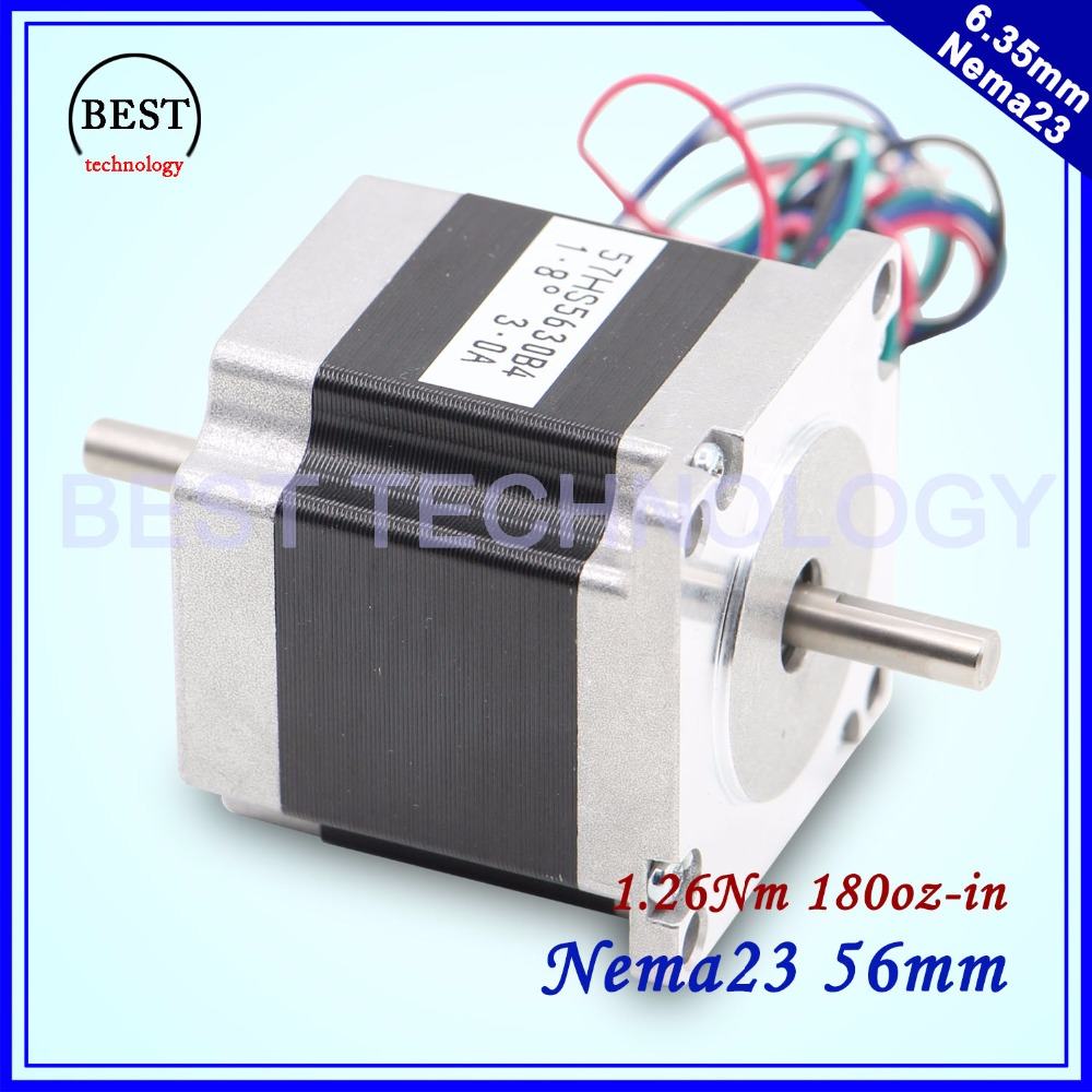 CNC Stepper motor Dual Shaft 57x56 NEMA 23 stepper motor 3A 1.26N.m double shaft stepping motor 180Oz-in For CNC machine free ship 3pcs dual shaft nema 23 stepper motor 1 89n m 268oz in 76mm 3a direct selling