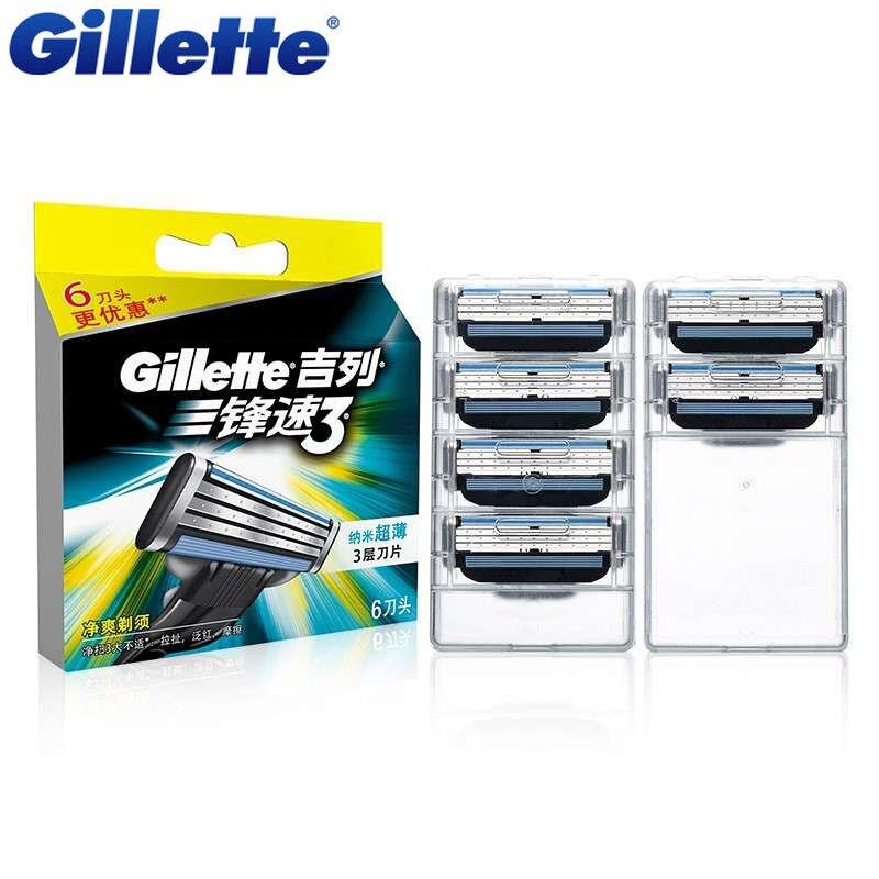 Original Gillette Mach <font><b>3</b></font> Shaving Razor Blades Brand Mach3 For Men Shave Blade 6Pcs/Pack
