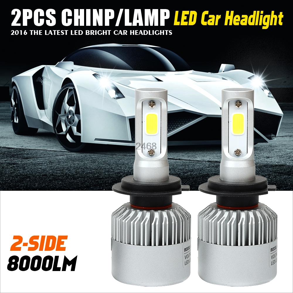 H7 LED Car Headlight Bulb 72W 8000lm 6500K Auto Headlamp Fog Light Bulbs for Lada/Toyota/Renault/VW/Hyundai/K  1pair h8 h9 h11 car led headlight bulb cob 72w 8000lm car led fog lights auto led headlamp bulbs for vw hyundai toyota kia honda