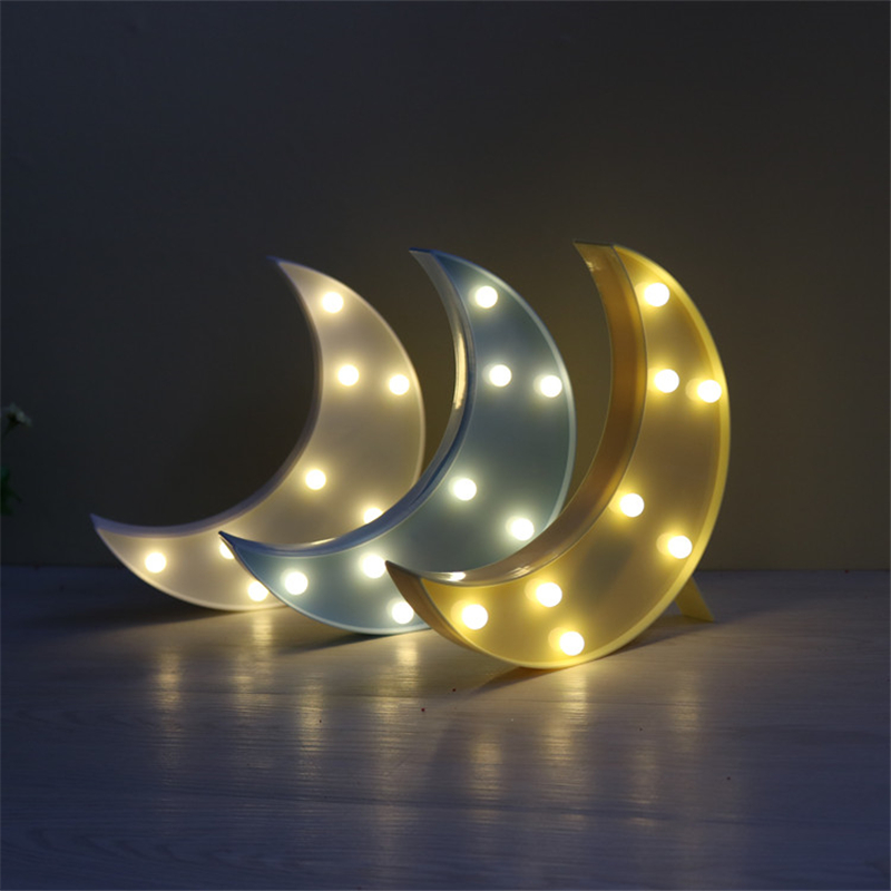 Crescent 3D LED Night Light Moon Night Lamp Table Lamp Marquee Christmas festival Home Decor Battery LED Nightlight IY304103-6