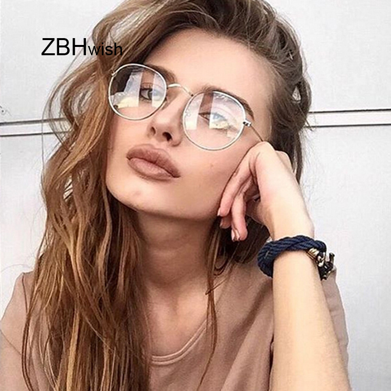 Fashion Retro Women Glasses Frame Eyeglasses Frame Vintage Round Clear Lens Transparent Sun Glasses Frame Women