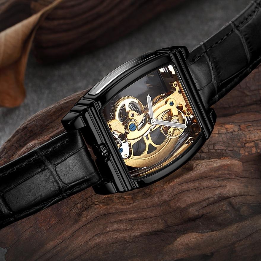 HTB1UsMQSCzqK1RjSZFpq6ykSXXaE Transparent Automatic Mechanical Watch Men Steampunk Skeleton Luxury Gear Self Winding Leather Men's Clock Watches montre homme